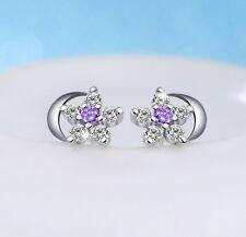 Plum Flower Sterling Silver Moon Amethyst Cubic Zirconia Stud Earrings Gift I34