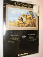 Dimensions Gold Collection AFRICAN LIONS Cross Stitch Kit FRENCH + ENGLISH 3866