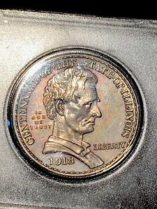 1918 Illinois Lincoln Commemorative Half Dollar,UNCIRCULATED!! BU Details!!!!!!