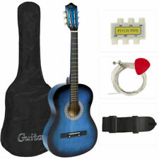Quality Beginners Acoustic Guitar w/ Guitar Case Strap Tuner and Pick Blue NEW +