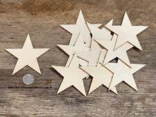 25 qty 4 inch Star Wood Flag Embellishments Shapes Crafts Ornaments Decor DIY