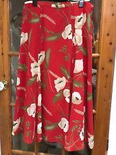 Alexon 6 panel chiffon style skirt, red & multi floral, Size 18/44