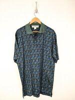 New Jhane Barnes Polo Shirt Men Large Blue Green Wavy Cotton Italy