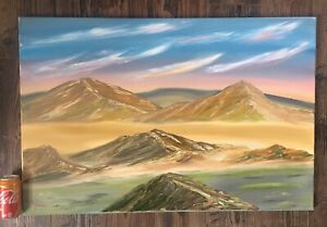Original Oil Painting On Canvas Of Abstract Mountain Range Signed