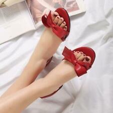 Women's Sweet Bowknot Lolita Sandals Summer Fahsion Slip On Open Toe Shoes
