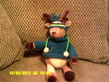 "HTF 11"" Bath Body Works TASSEL Plush Brown REINDEER w/ Sweater & Hat *"
