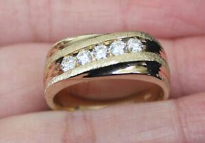 1.00 CARAT MENS YELLOW GOLD FINISH D/VVS1 DIAMOND ENGAGEMENT WEDDING BAND RING
