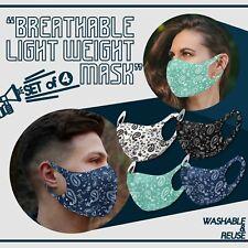 Set of 4 Paisley Fashion 3D Face Mask Washable Reusable Breathable Unisex