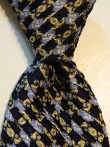 STEFANO RICCI Men's PLEATED Silk Necktie ITALY Geometric Blue/Yellow/Gold GUC