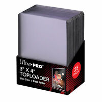 """Ultra Pro 3"""" x 4"""" Top Loader Card Protectors with Black Border - Packet of 25"""