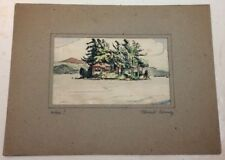 Original Vintage Architectural Drawing,Signed,,Matted Island Trees House