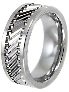 Men's Tungsten 8MM Gear Pattern Wedding Band - Mens Ring Size 9