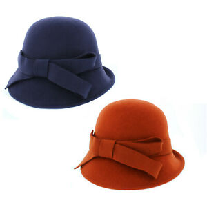 Ladies 100% Wool Cloche Hat with Bow Detailing