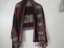 Pashmina 100% Cashmere Black/Red Elephant Scarf BNIP