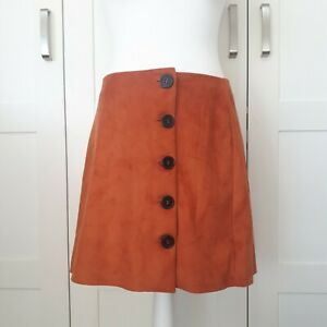 BNWT Burnt Orange Faux Suede Skirt Button up size 14 w32 L16.5 Casual Party