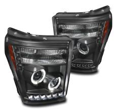 2011-2015 F250 F350 F450 F550 SUPER DUTY BLACK HALO PROJECTOR LED DRL HEADLIGHTS