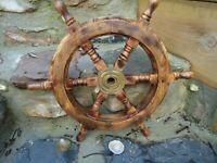 "Ships wheel Mango Wood 18"" across- Wooden & Brass maritime Pirate Very Nice Gift"