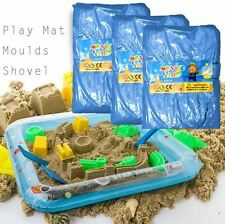 11PCS Magic Motion Play Moving Sand 2kg Kids Moving Play Mat Mould Set BLUE