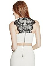 GUESS Top Women's Slim Fit Super Stretch Crop Top w- Black Lace Back L Ivory NWT