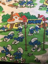 The Smurfs Twin Fitted & Bed Sheet Set by Lawtex Peyo Vintage 1980's