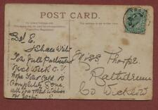 Mis E Thorpe, Rathdrum, County Wicklow, Ireland 1907 - postcard Tralee   bf6