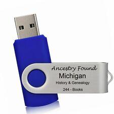 244 old books - MICHIGAN History & Genealogy on USB 2.0  16GB FLASH DRIVE