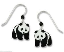 Panda Bear Earrings - 925 Sterling Silver Ear Wires - Dangle Zoo Animal Asia NEW