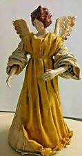Renaissance Christmas Tree Angel -Fabric Mache - 10 Inches Tall