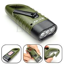 MECO 3x LED Hand Held Crank Dynamo Solar Power Rechargeable LED Flashlight Gift
