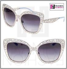 de8c6319bf5 Dolce   Gabbana 2164 Metal Flower Lace Blue Silver Cat Eye Sunglasses Dg2164