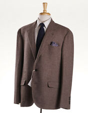 NWT $3450 BRUNELLO CUCINELLI Brown Twill Wool-Silk-Cashmere Sport Coat 46 R
