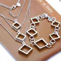 ASAMO Damen Schmuckset Quadrate Halskette Armband 925 Sterling Silber plattiert