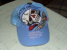 Don & ED HARDY Designs Death or Glory New Carolina Blue Baseball Cap Trucker Hat