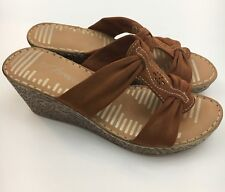 Forever. Women's Cork Wedge Strappy Gold Brown Heel Sandals Size 7