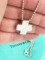 Tiffany & Co Sterling Silver Roman Cross On Bead Chain Pendant Necklace