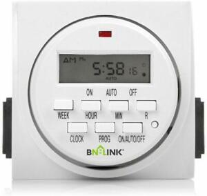 BN-LINK 7 Day Heavy Duty Digital Electric Programmable Timer Dual Outlet Switch