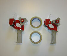 "2 NEW HEAVY DUTY HANDHELD TAPE GUN DISPENSERS AND 2 ROLLS OF 2"" TAPE"