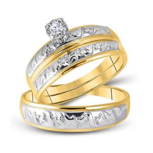 10kt Yellow Gold His Her Round Diamond Matching Bridal Wedding Ring Set