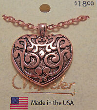 "Copper Pendant Heart 18"" Chain Necklace Wheeler Healing Arthritis Pain CN 161"