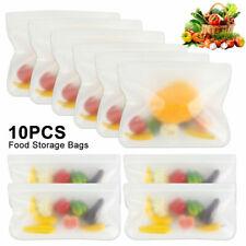 10PCS Kitchen Fresh Ziplock Sac Réutilisable Silicone congélateur de conservatio...
