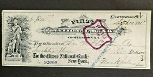 1911 1st Natl Bank Cooperstown NY $23.79 Checkw/Vignette!-d3743dth
