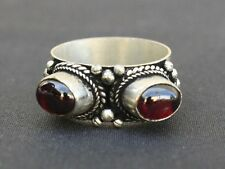 Big Solid Tibetan 925 Silver Plated Two Natural Garnet Gemstone Weaving Ring