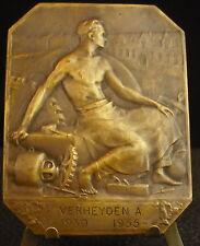 Medaglia Belgio cent. 1955 Lavoro utensili Lavorando man Work cf Mauquoy Medal