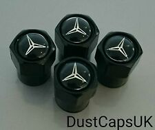 MERCEDES Black Wheel Tyre Valve Dust Caps A B C Class SL SLK AMG Set x4 Chrome