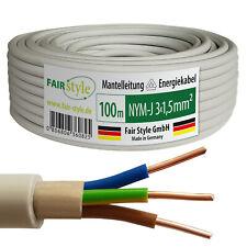 100m NYM-J 3x1,5 mm² Mantelleitung Elektro Strom Kabel Kupfer eindrähtig