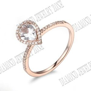Solid 10K Rose Gold 7x5mm Pear White Topaz Real SI/H Diamonds Gemstone Gift Ring