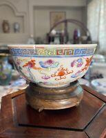Antique Chinese Famille Rose Dragon & Phoenix Bowl