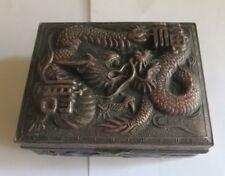 Boite à bijoux asiatique en argenterie et cuivre rouge – intérieur en bois
