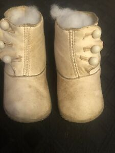 """ANTIQUE Victorian Baby DOLL BOOTS High TOP shoes WHITE LEATHER- Button Up 4"""""""