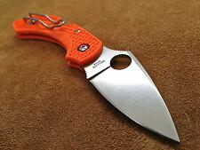 Spyderco Orange Dragonfly C28POR2 Flat Ground FRN Plain Edge Knife * VG-10 Steel